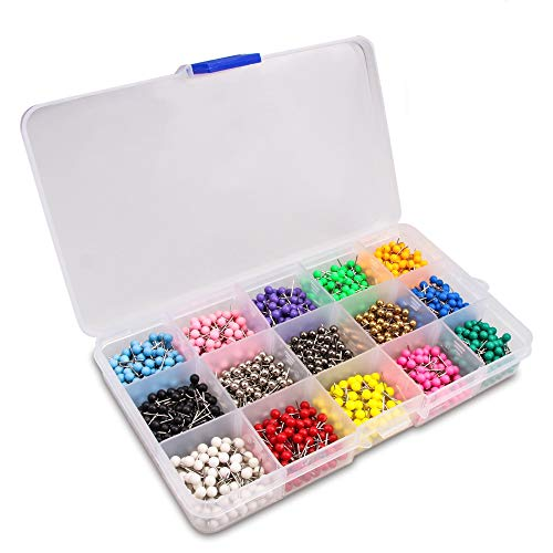 Yalis Push Pins Marking Map Tacks 1/8-Inch Plastic Beads Head, 15 Assorted Colors, 1500-count