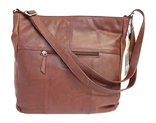 Rowallan Nambia Handtasche/Handtasche, gebogen, Abgerundeter Reißverschluss, Braun
