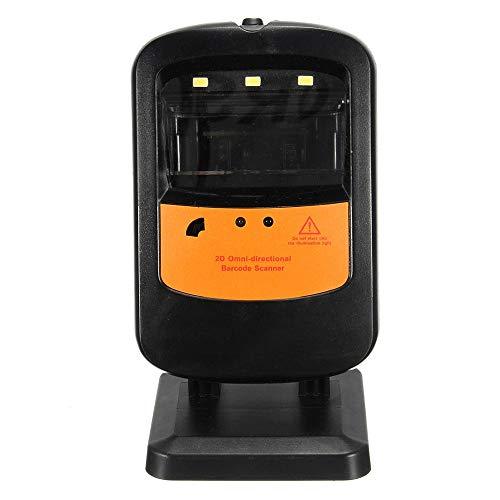 Lecteur Portable Rotatif Mains Libres Portable 1D 2D Barcode Scanner avec UPC Câble USB EAN (Color : Black, Size : 78x75x141mm)