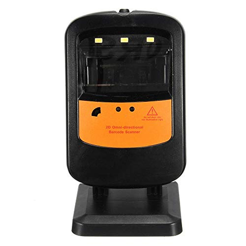 ZoSiP Bureau Electronique Lecteurs de Codes Barres Portable Rotatif Mains Libres Portable 1D 2D Barcode Scanner avec UPC Câble USB EAN (Color : Black, Size : 78x75x141mm)