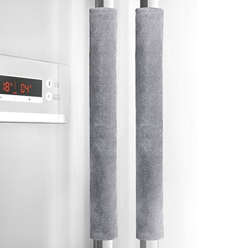 "Sheskind Refrigerator Door Handle Cover Kitchen Appliance Decor Handles Antiskid Protector Gloves for Fridge Oven Keep Off Fingerprints,Liquid,Oil Stain,Food Spot,2 Pieces (16"" 4"", Gray)"