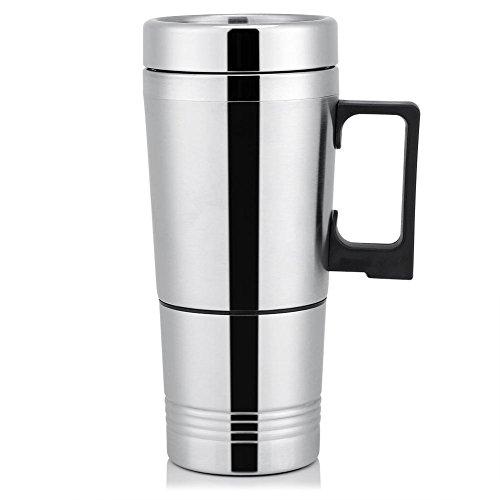 Termo Taza Electrico Calentador para Coche,Termo de cafe para llevar, Taza termica de acero inoxidable para viaje 12V/24V (12V)