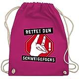 Shirtracer Lehrer - Rettet den Schweigefuchs - Unisize - Fuchsia - rettet den schweigefuchs - WM110 - Turnbeutel und Stoffbeutel aus Baumwolle