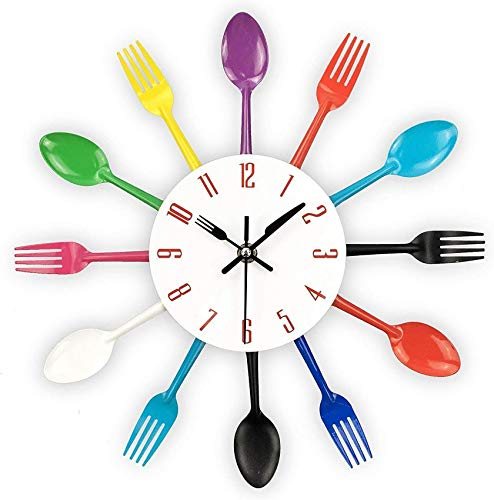 XHCP Kitchen Wall Clock, 3D Movable Modern Creative Kitchen Spoon Fork Wall Clock, Mirror Wall Sticker Sticker Home Decoration-to 32x32cm (13x13inch)
