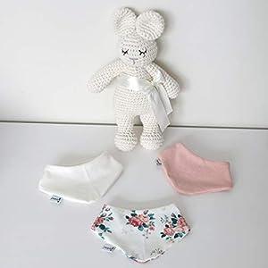 3er Set Halstücher – Weiß/Rose meliert/Cremeweiß Rosen Baby Junge Baby Mädchen Halstuch Spucktuch Lätzchen