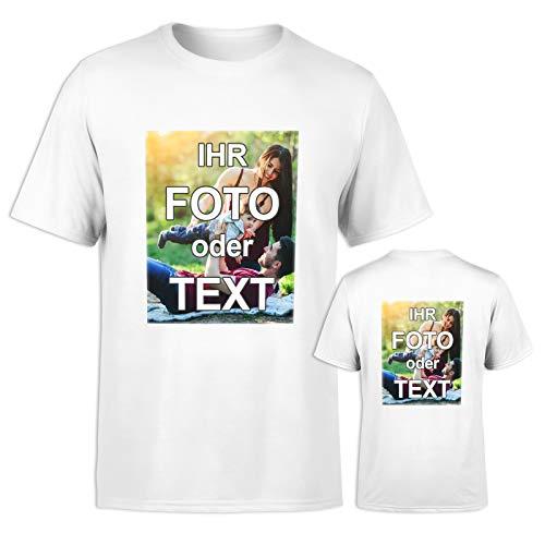 T-Shirt mit eigenem Foto Text Logo Name selbst gestalten * ringgesponnene Baumwolle * vollfarbig DOPPELSEITIG Bedruckt * viele Farben, Farbe:Weiß, Größe:M
