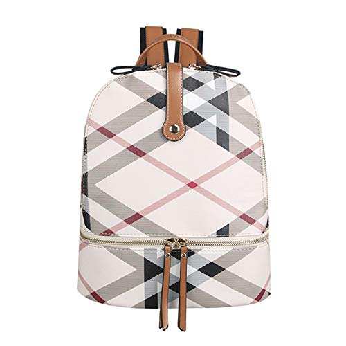 qwerasdf señoras moda mochila impermeable antirrobo mochila casual mini mochila (Color amarillo terroso rejilla, 29*25.5*14cm)