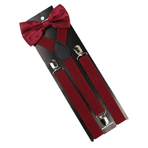 YMXBSBD Tirantes Set Hombre Burdeos Rojo Burdeos Hombres Mujer Tirantes Elásticos Tirantes Ancho 2.5 Cm Camisa Corbata Arco
