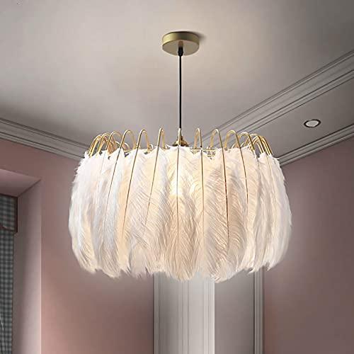 WOERD 50CM Lámpara de Techo Moderna, Lámpara Colgante de Plumas Led, E27 Ajustable Iluminación De Techo, Minimalista Luz de Techo para la Sala de Estar Dormitorio Porche Bar Restaurante