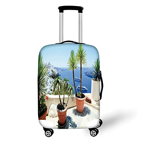 Travel Luggage Cover Suitcase Protector,Travel Decor,Vacation in Santorini Balcony Overlooking The Old Volcano The Caldera Aegean,Multicolor,for Travel S