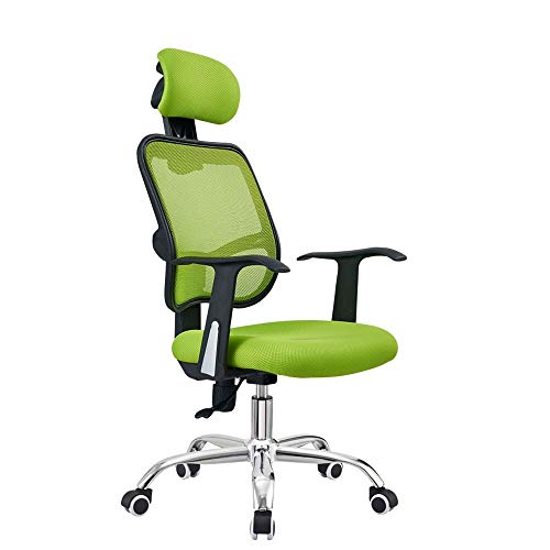 WERCHW Ergonomic Office Recliner Chair with Footrest, High Back Desk Chair with Lumbar Support, Height Adjustable Seat, Headrest, Breathable Mesh Back (Color : Green)