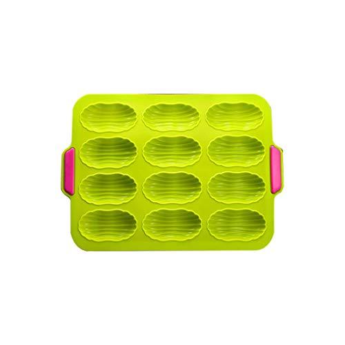 JERKKY Moule à Pain, Moule à Pain en Silicone à 12 cavités, Moule à pâtisserie pour Muffins/Petits Pains/Baguette, décoration de gâteaux 3D, moules à ustensiles de Cuisson, Vert
