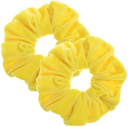 Best 2 Pcs Yellow Color Large Size Scrunchies for Women Hair Elastic Bands