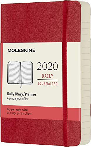 Moleskine Classic 12 Month 2020 Daily Planner, Soft Cover, Pocket (3.5' x 5.5') Scarlet Red