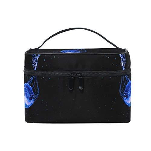 Méduse Bleue Art Noir Trousse Sac de Maquillage Toilette Cas Voyage Sac Organisateur Cosmétique Boîtes pour Les Femmes Filles