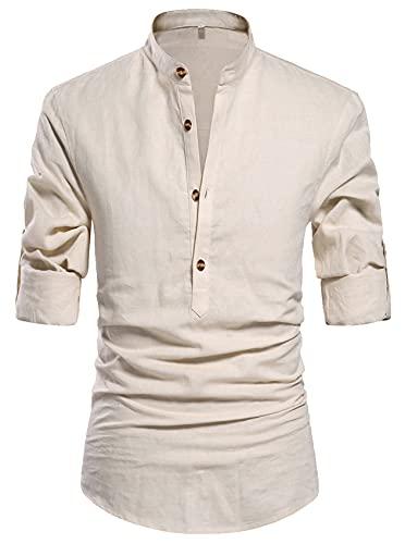 NITAGUT Men's Cotton Linen Blend Shirts , 01 Beige , US M/Chest 38-41