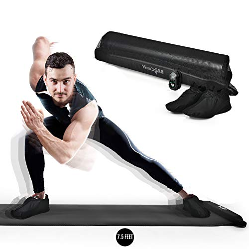 Yes4All Slide Board – Workout Board with Carrying Bag and Shoe Booties Included (B. Black - 7.5 Feet)