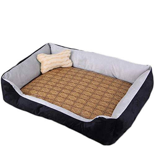 Serrale Pet Bed Rattan Cushion Bone Toys all Seasons Pillow Bed and Sofa can be Hand-Washed Breathable Mixed Material L-Black
