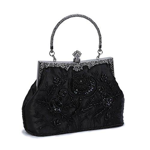 UBORSE Damen-Clutch mit Perlen und Pailletten, bestickt, groß, für Hochzeit, Party, Vintage-Taschen, Schwarz (schwarz), Medium