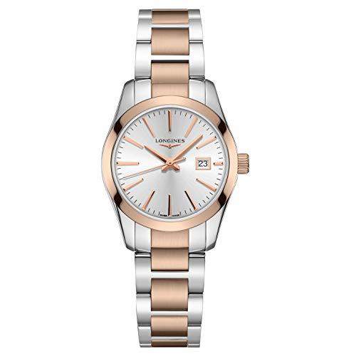 Longines orologio Conquest Classic 29,5mm argento quarzo acciaio PVD oro rosa L2.286.3.72.7