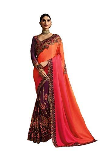 Vino Rosa Georgette Seda Sari Lujo Borde Y Blusa Pesada De Hilo De Trabajo Diwali Festival Mujer Saree Musulmana Fiesta