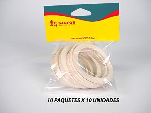 Sanfor 85120 Caja 100 Junta Cafetera O.L. de 3 Tazas Granel Paquetes de 10 Unidades, Caucho, BLANCO