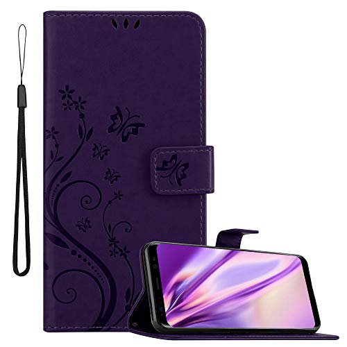 Cadorabo Funda Libro para Samsung Galaxy S8 en Lila Oscuro Floral – Cubierta Proteccíon en Diseño de Flor con Cierre Magnético, Función de Suporte e 3 Tarjeteros - Etui Case Cover Carcasa