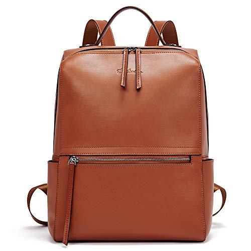 BOSTANTEN Damen Leder Rucksack 13 Zoll Laptop Backpack Schulrucksack Stadtrucksack Casual Daypacks Braun