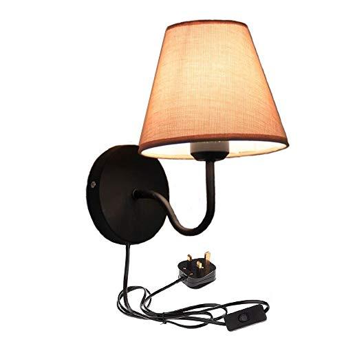 Eenvoudige Warm Stof Slaapkamer Woonkamer Trap Wandlamp met Praktische Plug, Kabel en Aan/Uit Schakelaar, Kleur Linnen fdgfdgdsa
