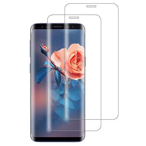 XSWO 2 Unidades Cristal Templado para Galaxy S9, Protector de Pantalla para Samsung Galaxy S9, [3D Cobertura Completa] [9H Dureza] [Sin Burbujas] [Anti Huella Digital] Vidrio Templado
