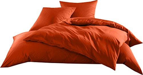Mako-Satin Baumwollsatin Bettwäsche Uni einfarbig zum Kombinieren (Bettbezug 135 cm x 200 cm, Orange) viele Farben & Größen