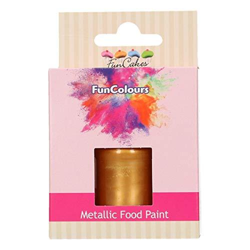FunCakes FunColours Pintura Metálica Dark Gold 30 ml, Crea