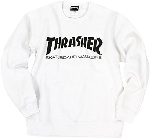 (スラッシャー) THRASHER マグロゴ クルーネック スウェット TH8401 (XL, WH:ホワイト)