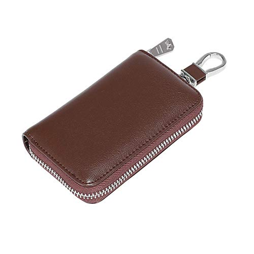 Car Key Holder Bag, Key Fob Case with 6 Stainless Steel Hook Zipped Keychain Wallet for Car Remote Key