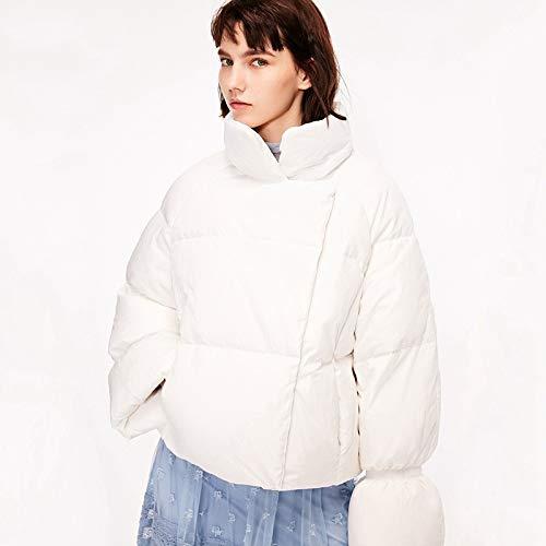 DPKDBN dames donsjack kraag en ruitpatroon korte witte katoenen donsjas van 100% katoen