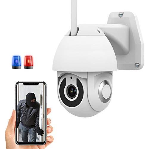 Cámara IP WiFi de Vigilancia Exterior High-Definition 1080P PTZ CCTV Cámara,360°Girar,Detección de Movimient,Alarma Remota,Impermeable,Visión Nocturna,Audio Bidireccional,Control de APP 【Cámara+64G】