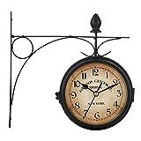 Reloj Estacion de Tren Doble Cara Reloj de Pared Retro Grande Hierro Forjado para Decoración Sala De Estar Habitación Hotel Jardín, 21.8x21.8cm,Negro