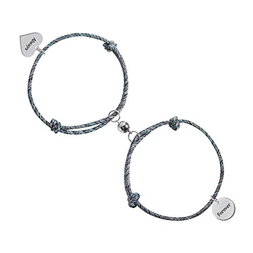 Personalized Magnetic Attract Couples Bracelets, Custom Rope Braided Mutual Magnetic Bracelets for Him and Her 2 PCS