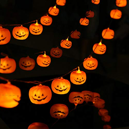 Halloween Lichterketten, Orange Kürbisse 20 LED 3m / 9,8ft Batteriebetriebene Fee Jack-O-Laterne Lichter für Outdoor Indoor Decor Party Home Patio Dekorationen-Warmweiß