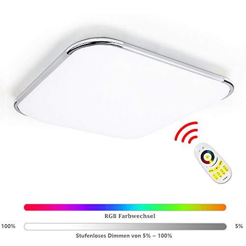 Hengda Led Deckenleuchte RGB 36W Dimmbar Deckenlampe mit Fernbedienung, Lampe für Wohnzimmer Kinderzimmer Schlafzimmer Flur Küche Büro Modern IP44