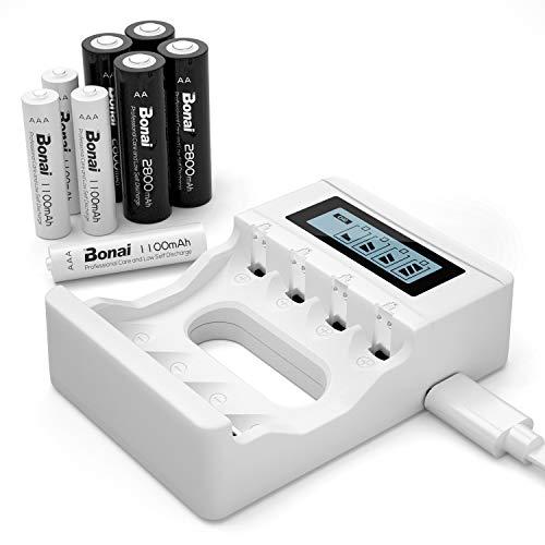 BONAI 4 Piezas de AA 2800mAh & 4 Piezas de AAA 1100mAh Ni-MH Baterías Recargables con 4 Bay AA AAA Cargador de Batería