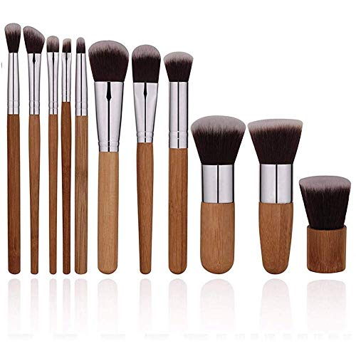 WEHQ Pinceaux de Maquillage 11 Pièces en Bambou Naturel pinceaux de Maquillage Set cosmétiques Vegan Pinceau de Maquillage Set Maquillage Professionnel Kits Brosse pour Les Femmes