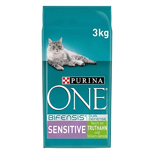 PURINA ONE BIFENSIS SENSITIVE Katzenfutter trocken, reich an Truthahn, 4er Pack (4 x 3kg)