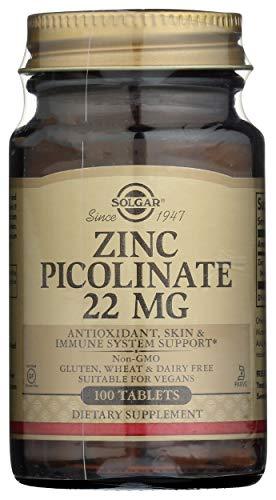Solgar Zink-Picolinat 22mg Immunsystem Energieproduktion 100 Vegetarische Tabletten