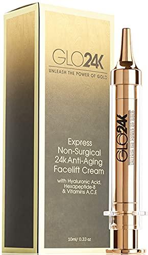GLO24K Instant Facelift Cream with 24k Gold, Hyaluronic Acid,...