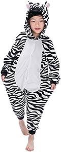"Dolamen Niños Unisexo Onesies Kigurumi Pijamas, Niña Traje Disfraz Animal Pyjamas, Ropa de dormir Halloween Cosplay Navidad Animales de Vestuario (120-130CM (47 ""-51""), Zebra)"