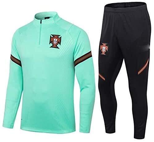 PARTAS Offizielle Fußball-Geschenk Langarm Portugal Tracksuits Football Wear Verein Uniform Trainingsanzug Portugal Wettbewerb Anzug Herren-Top + Pants (Size : L)