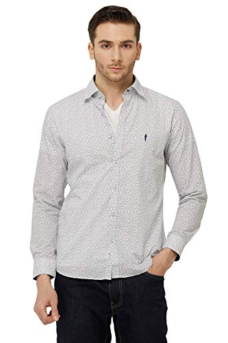 YEZAC Men's 100% Supima Cotton Dress Shirt Slim fit Long Sleeve (WH, S)
