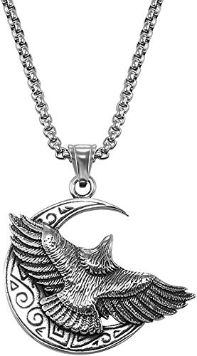 ZPPYMXGZ Co.,ltd Necklace Fashion New Stainless Steel Gothic Horn Evil Devil Demon Skull Pendant Necklace Eagle Hip Hop Necklace Punk Halloween Jewelry for Men 32