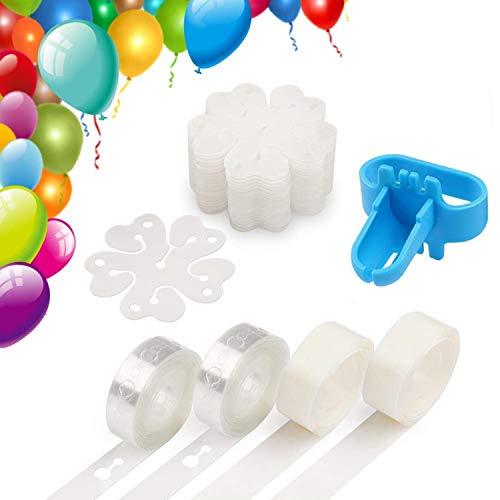 Funnyshow 2 Rollen 16ft Ballon Bogen Spalte Connect Kette, 200 Ballon-Punktkleber Aufkleber, 30 Stück Blume Form Ballon Clips, 1 Ballon Bindewerkzeug, für Hochzeit Geburtstag Party Dekoration